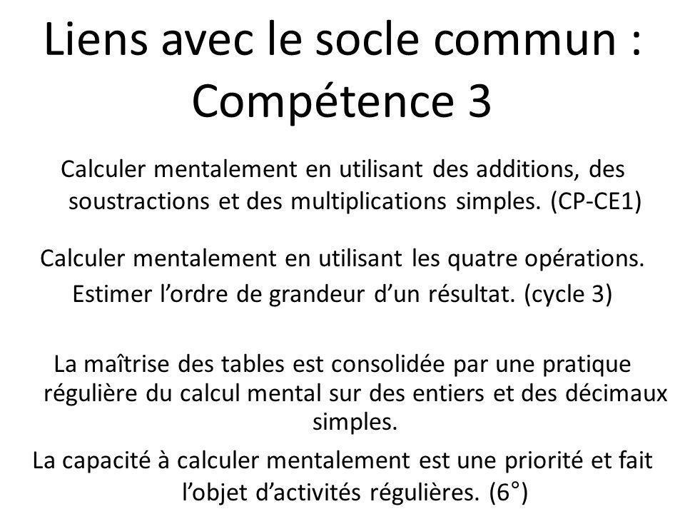 Liens avec le socle commun : Compétence 3