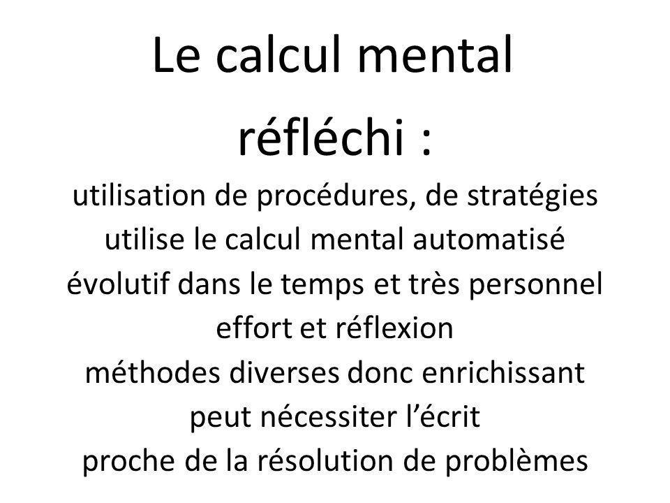 Le calcul mental réfléchi : utilisation de procédures, de stratégies