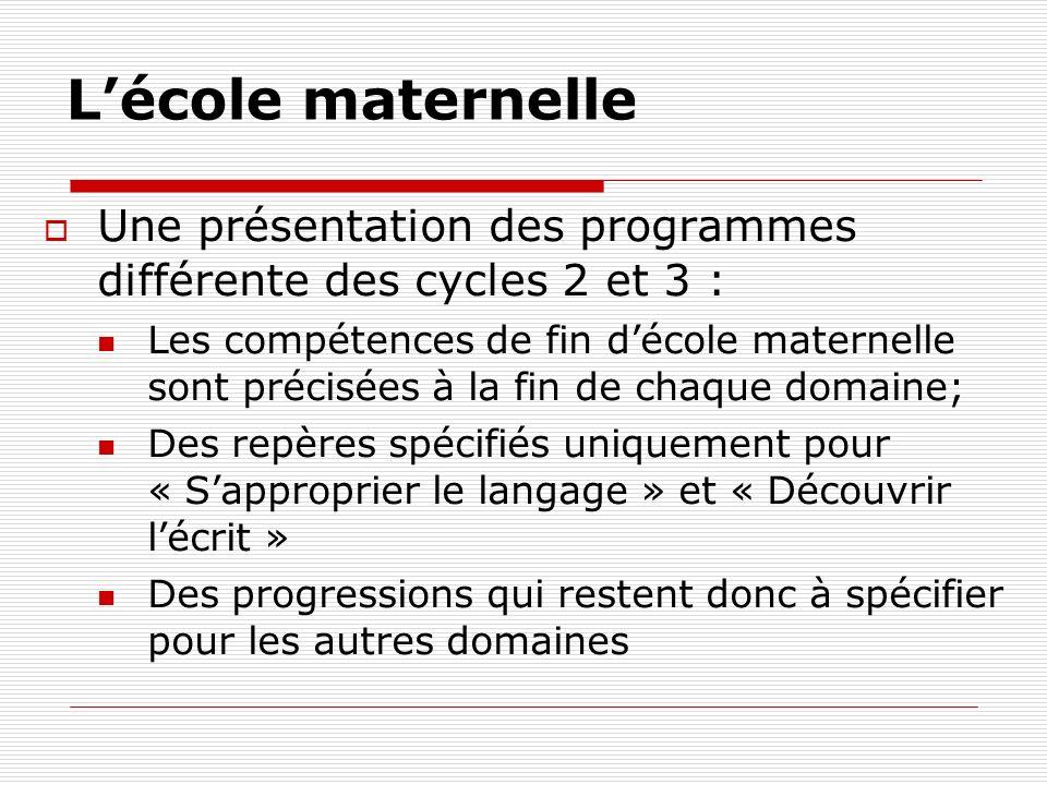 L'école maternelle Une présentation des programmes différente des cycles 2 et 3 :