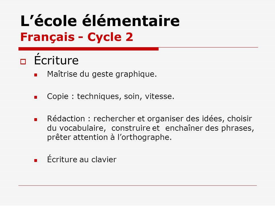 L'école élémentaire Français - Cycle 2