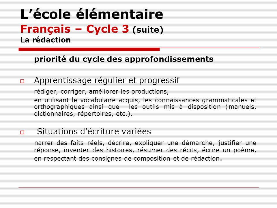 L'école élémentaire Français – Cycle 3 (suite) La rédaction