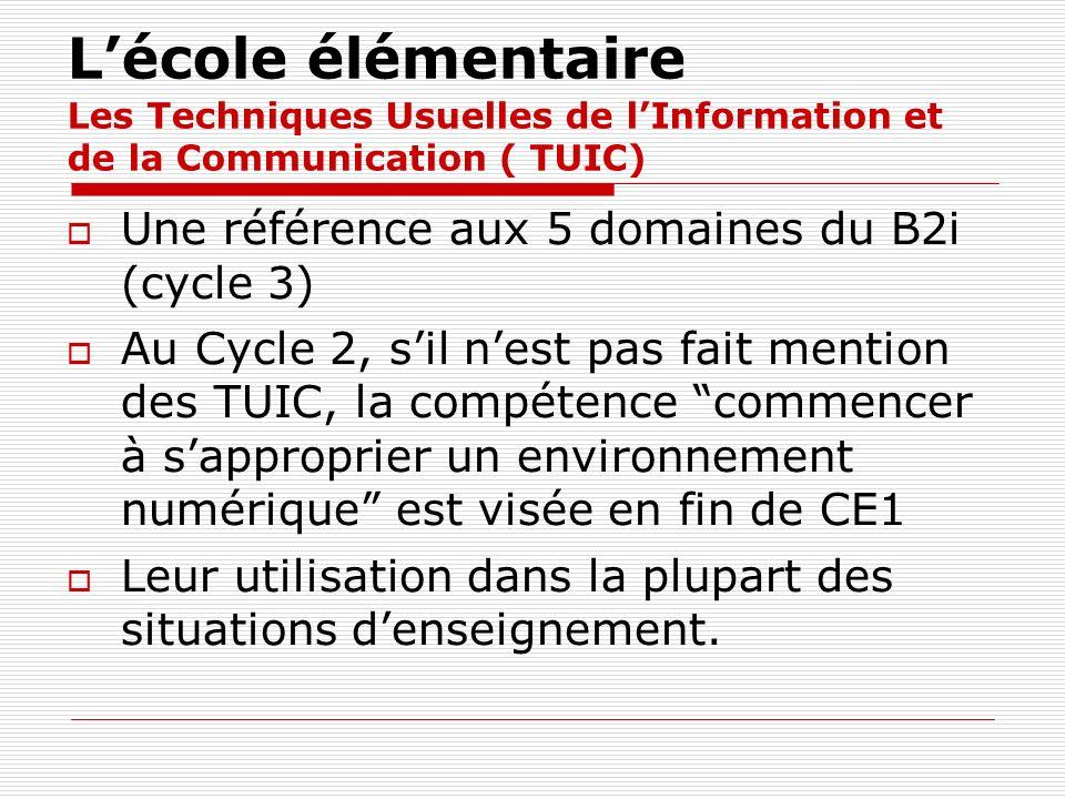 L'école élémentaire Les Techniques Usuelles de l'Information et de la Communication ( TUIC)