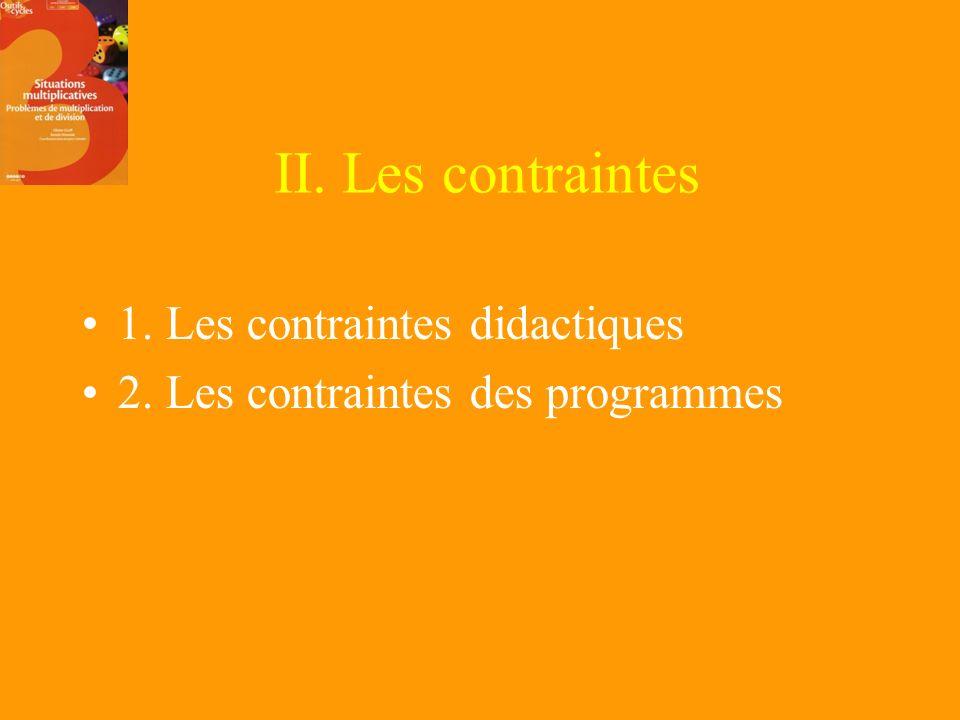 II. Les contraintes 1. Les contraintes didactiques