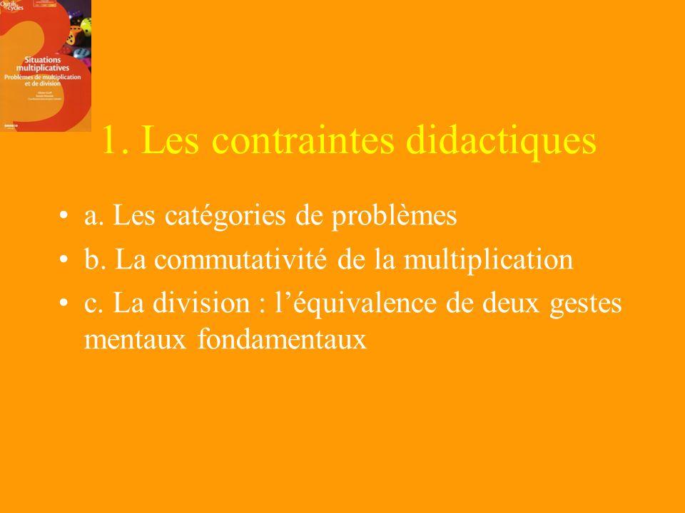 1. Les contraintes didactiques