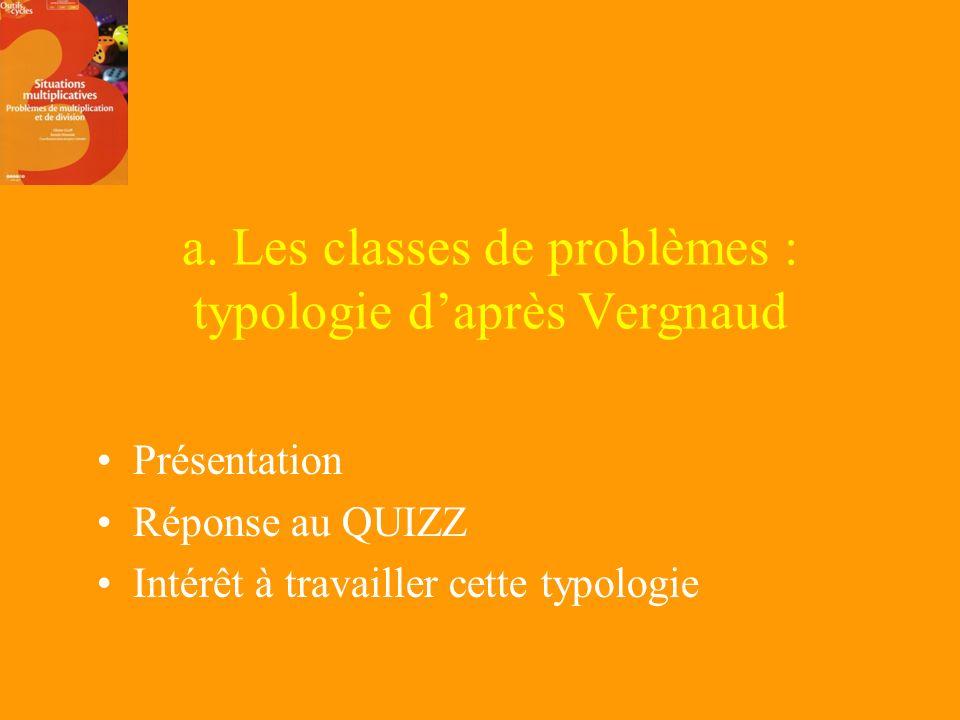 a. Les classes de problèmes : typologie d'après Vergnaud