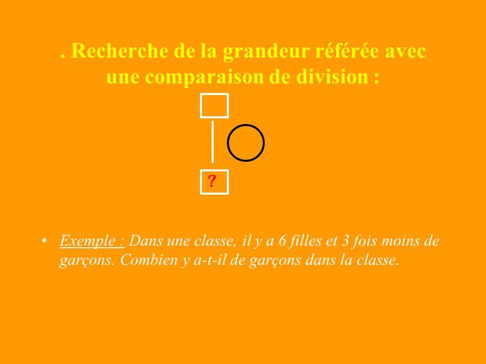 . Recherche de la grandeur référée avec une comparaison de division :