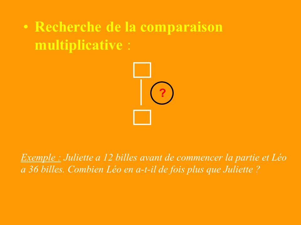 Recherche de la comparaison multiplicative :