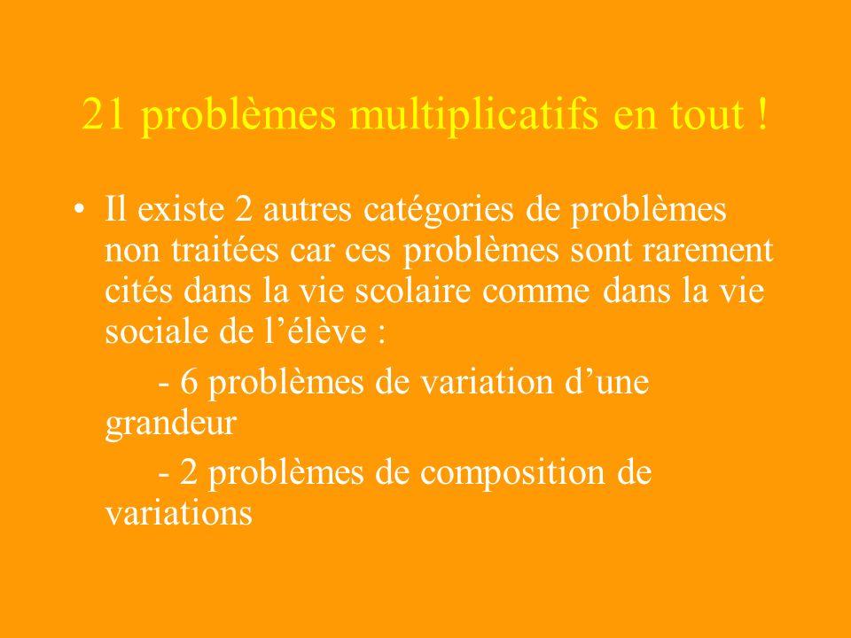 21 problèmes multiplicatifs en tout !