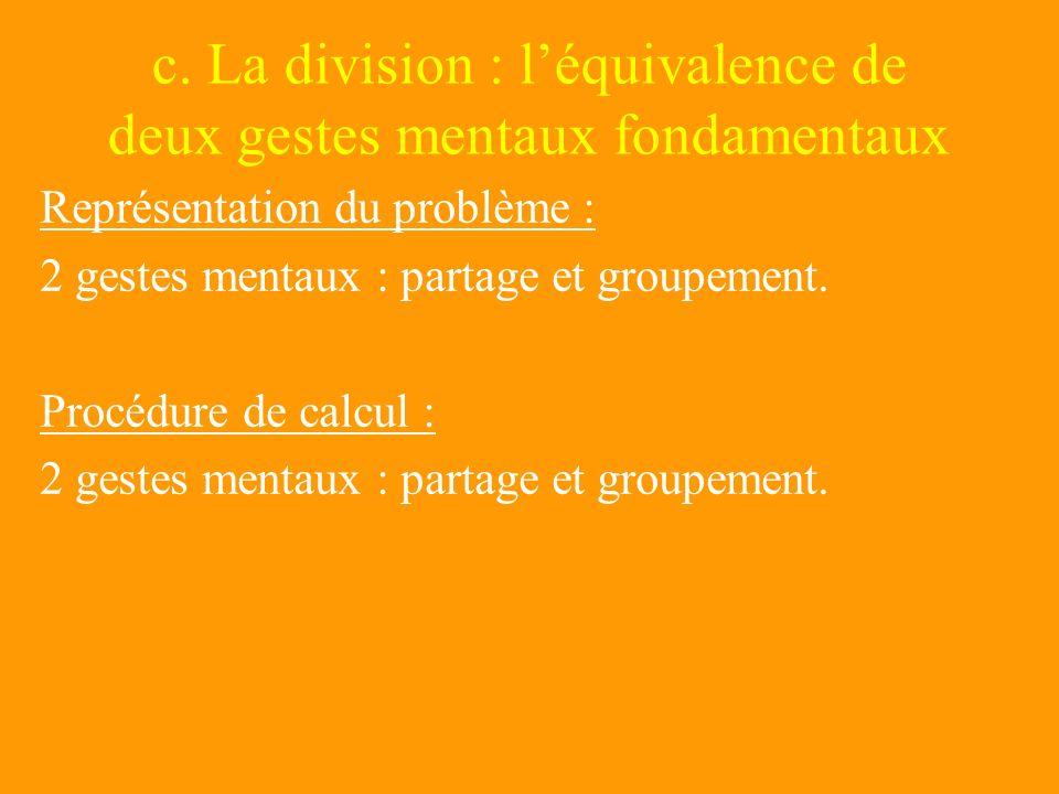 c. La division : l'équivalence de deux gestes mentaux fondamentaux