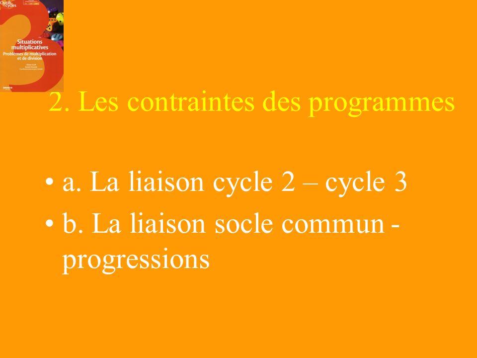 2. Les contraintes des programmes