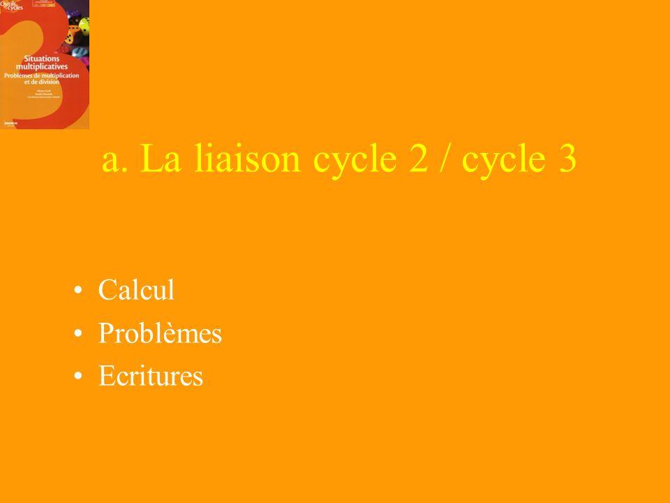 a. La liaison cycle 2 / cycle 3