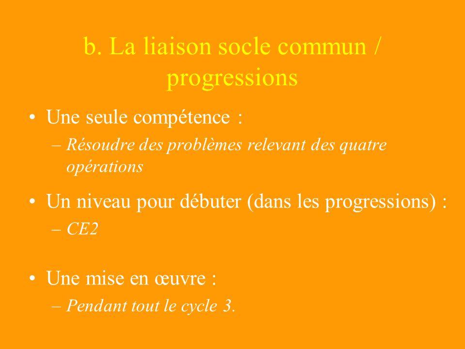 b. La liaison socle commun / progressions