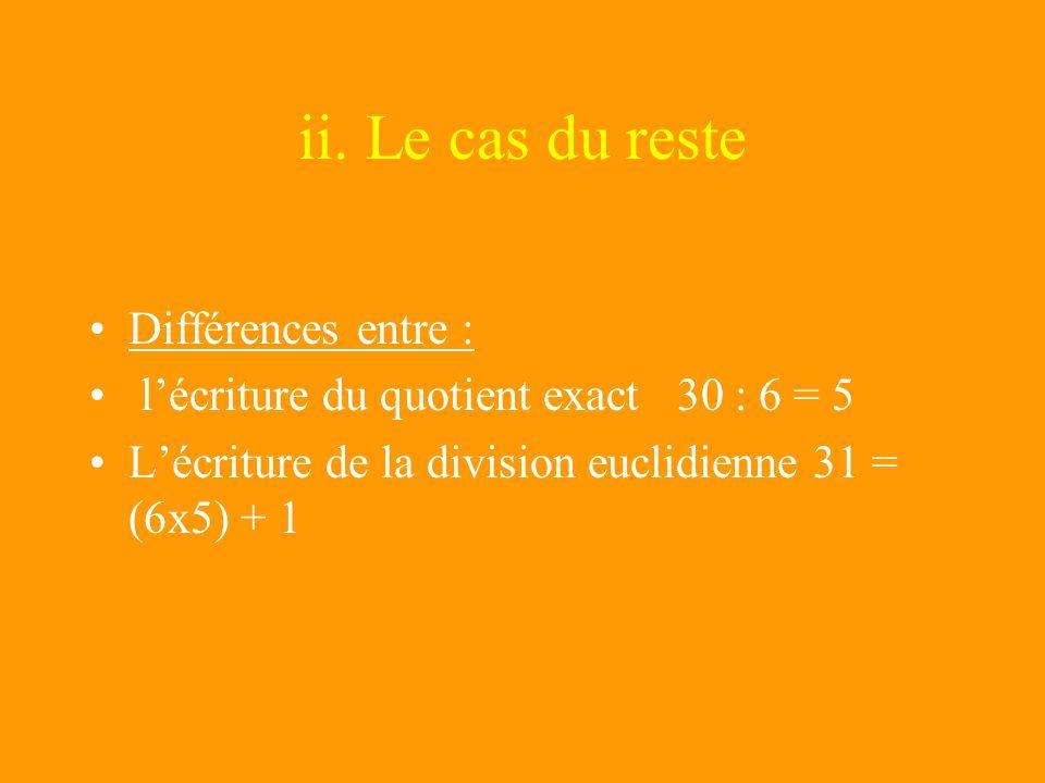 ii. Le cas du reste Différences entre :