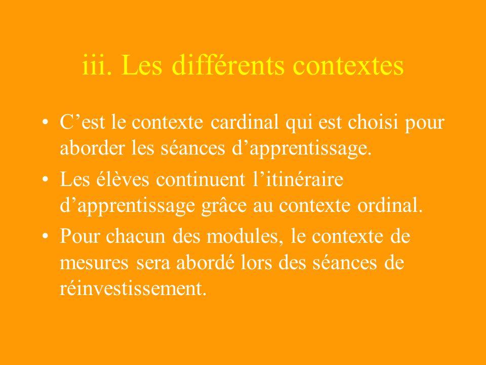 iii. Les différents contextes