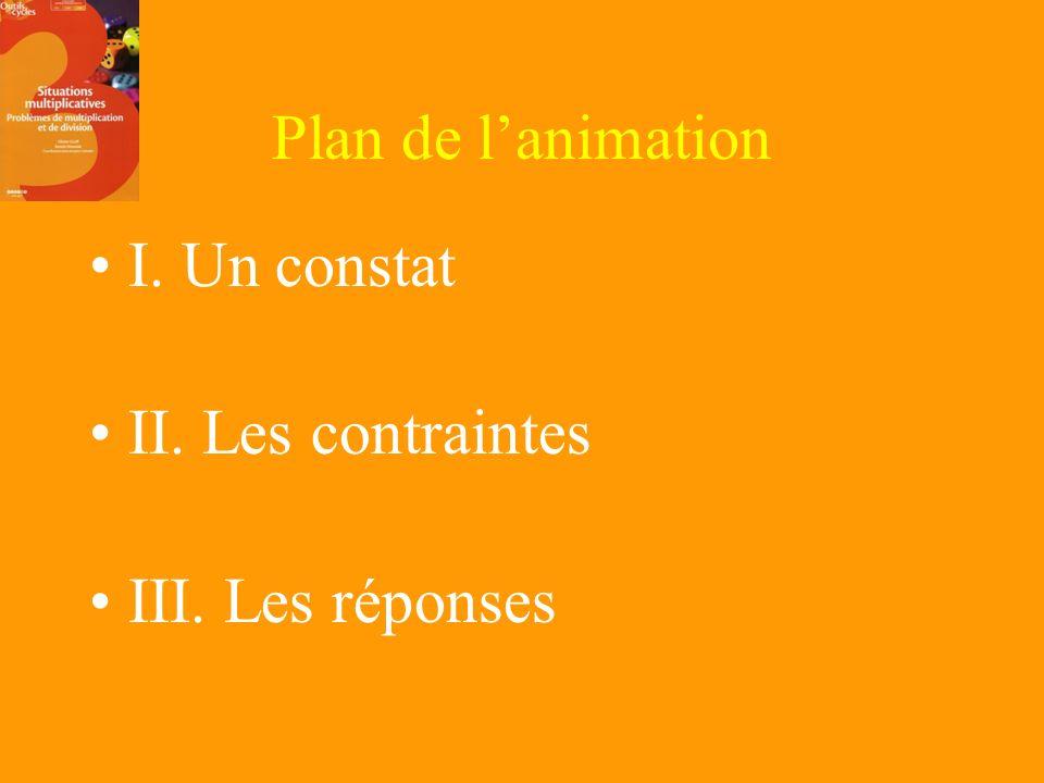 Plan de l'animation I. Un constat II. Les contraintes III. Les réponses