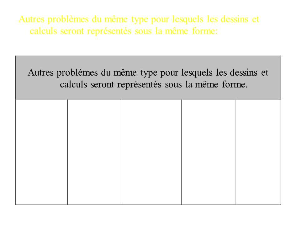 Autres problèmes du même type pour lesquels les dessins et calculs seront représentés sous la même forme: