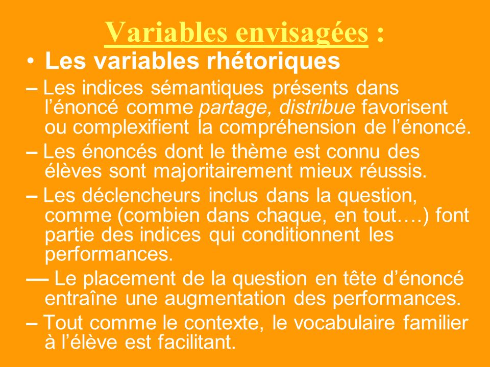 Variables envisagées :