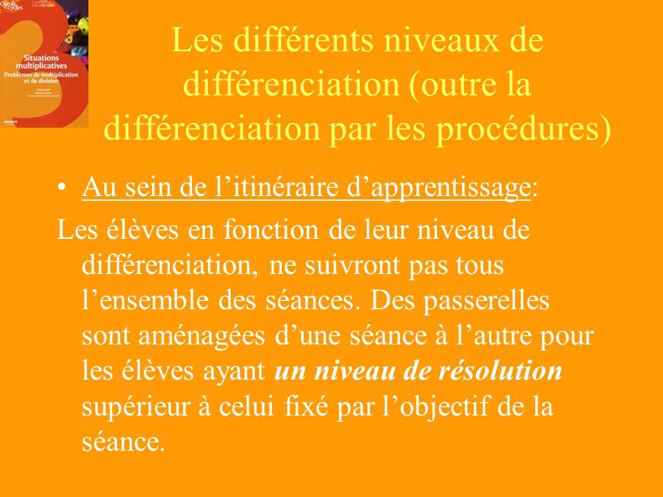 Les différents niveaux de différenciation (outre la différenciation par les procédures)