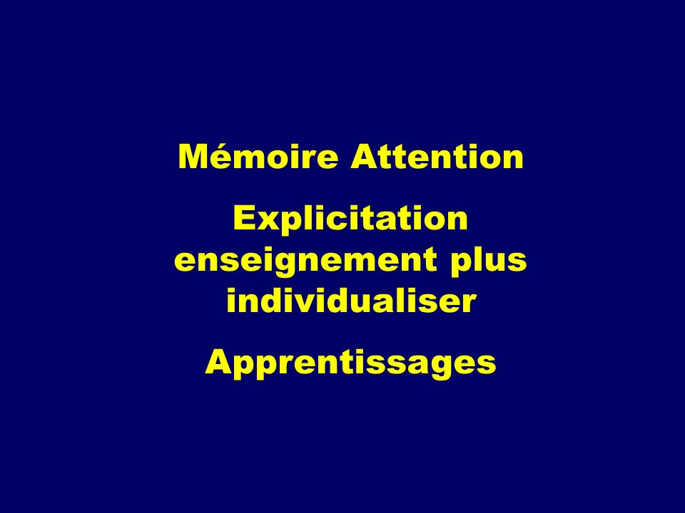 Explicitation enseignement plus individualiser