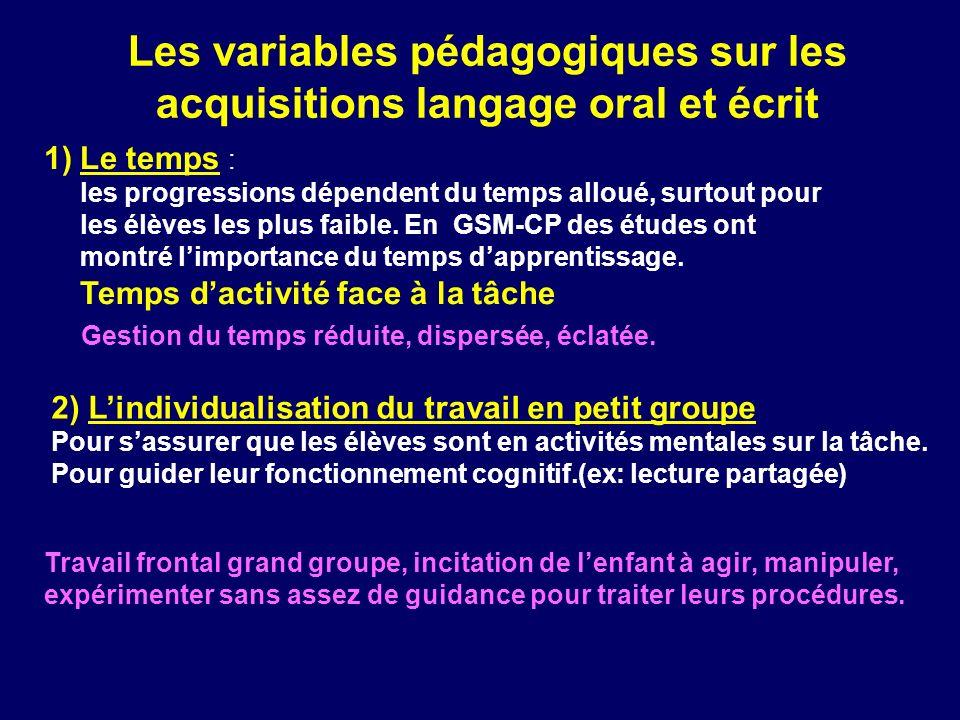 Les variables pédagogiques sur les acquisitions langage oral et écrit