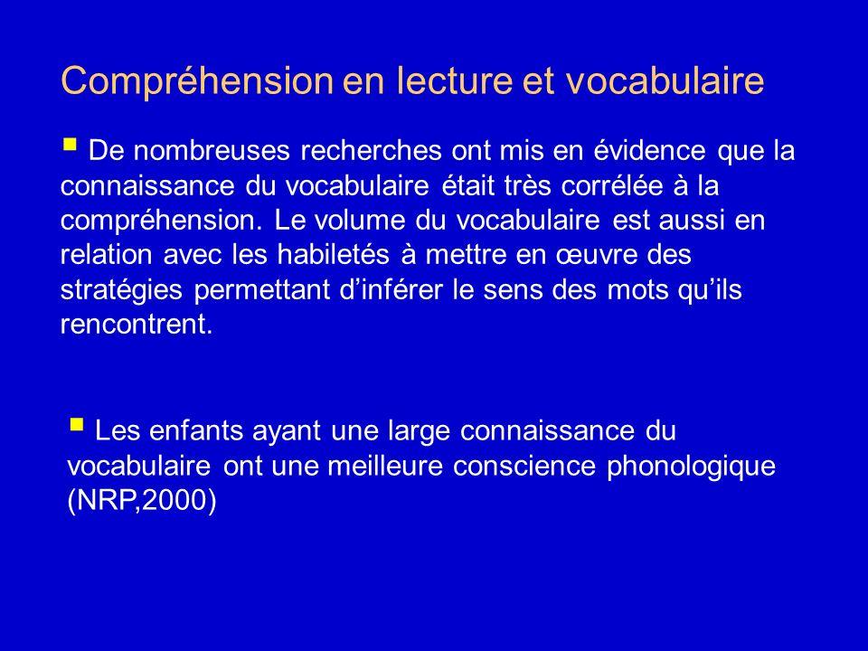 Compréhension en lecture et vocabulaire