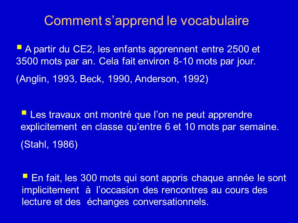 Comment s'apprend le vocabulaire