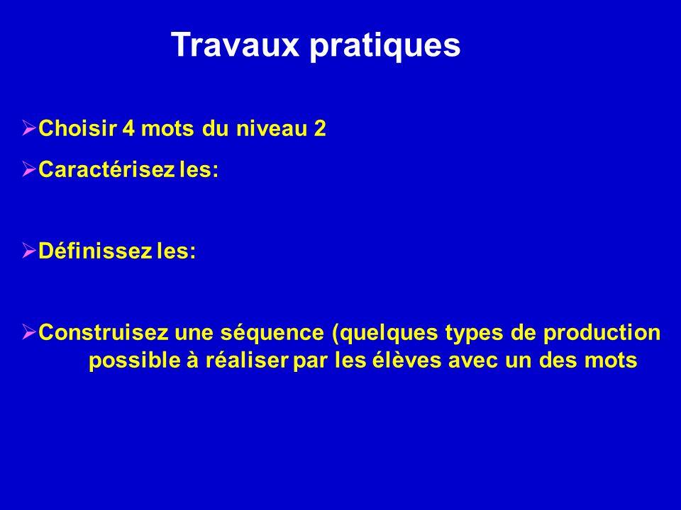 Travaux pratiques Choisir 4 mots du niveau 2 Caractérisez les: