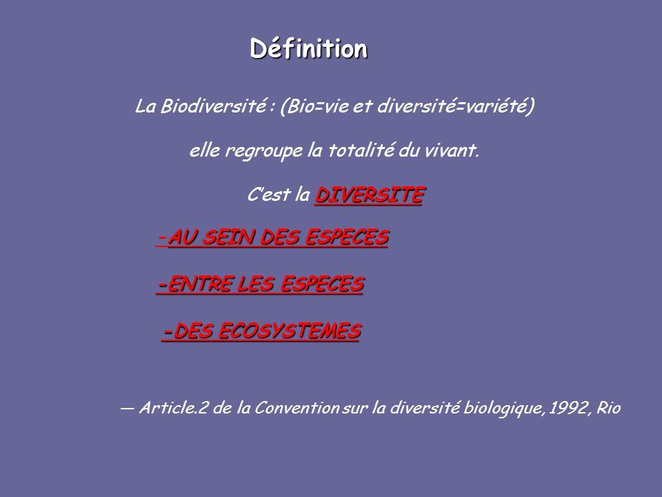 Définition La Biodiversité : (Bio=vie et diversité=variété)