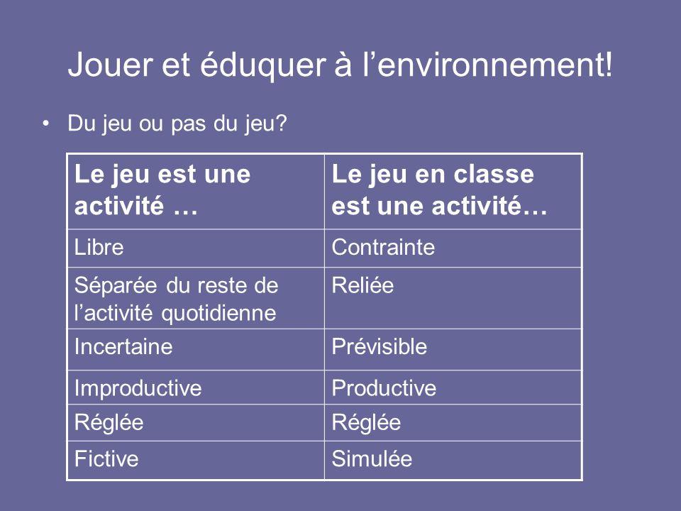 Jouer et éduquer à l'environnement!