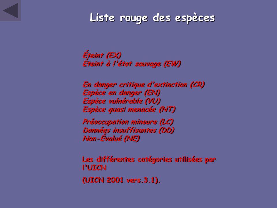 Liste rouge des espèces