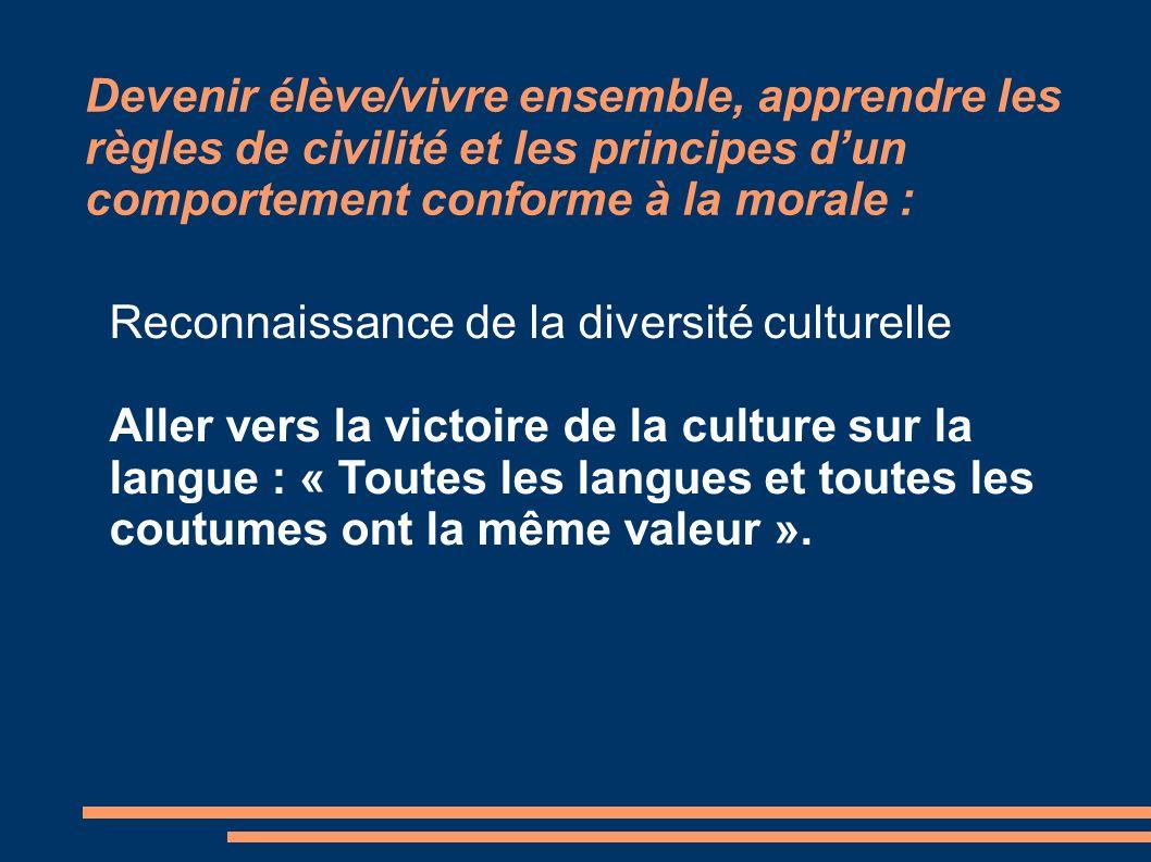 Devenir élève/vivre ensemble, apprendre les règles de civilité et les principes d'un comportement conforme à la morale :