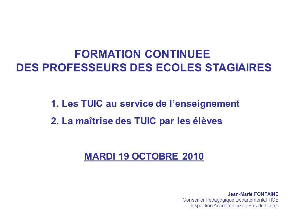 DES PROFESSEURS DES ECOLES STAGIAIRES