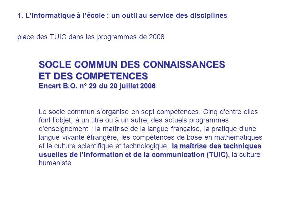 SOCLE COMMUN DES CONNAISSANCES ET DES COMPETENCES