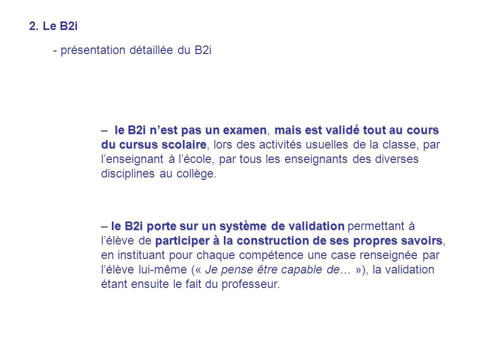 2. Le B2i - présentation détaillée du B2i.