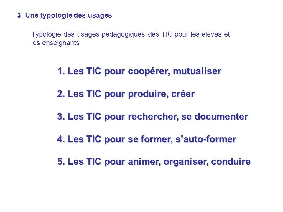 1. Les TIC pour coopérer, mutualiser 2. Les TIC pour produire, créer