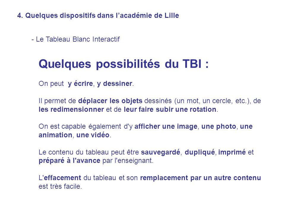 Quelques possibilités du TBI :