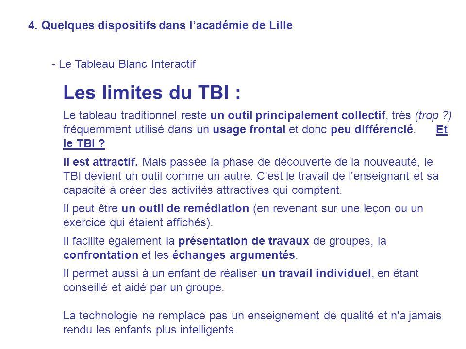 Les limites du TBI : 4. Quelques dispositifs dans l'académie de Lille