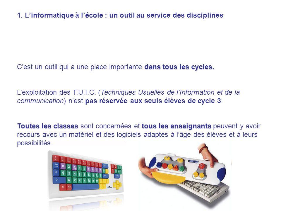 1. L'informatique à l'école : un outil au service des disciplines