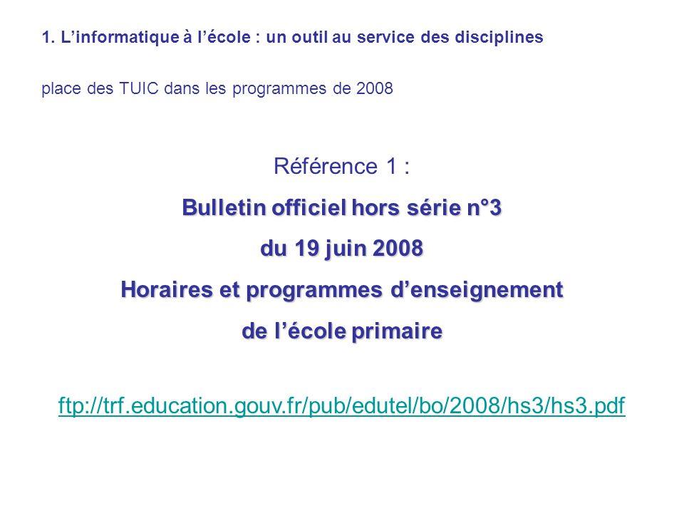 Bulletin officiel hors série n°3 Horaires et programmes d'enseignement
