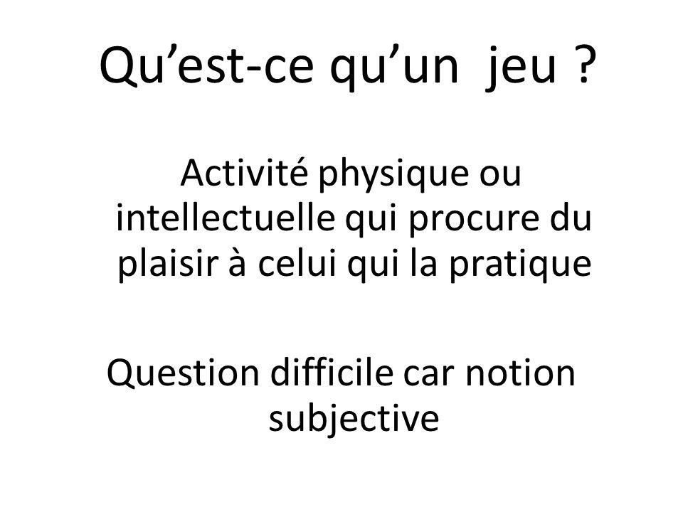 Question difficile car notion subjective