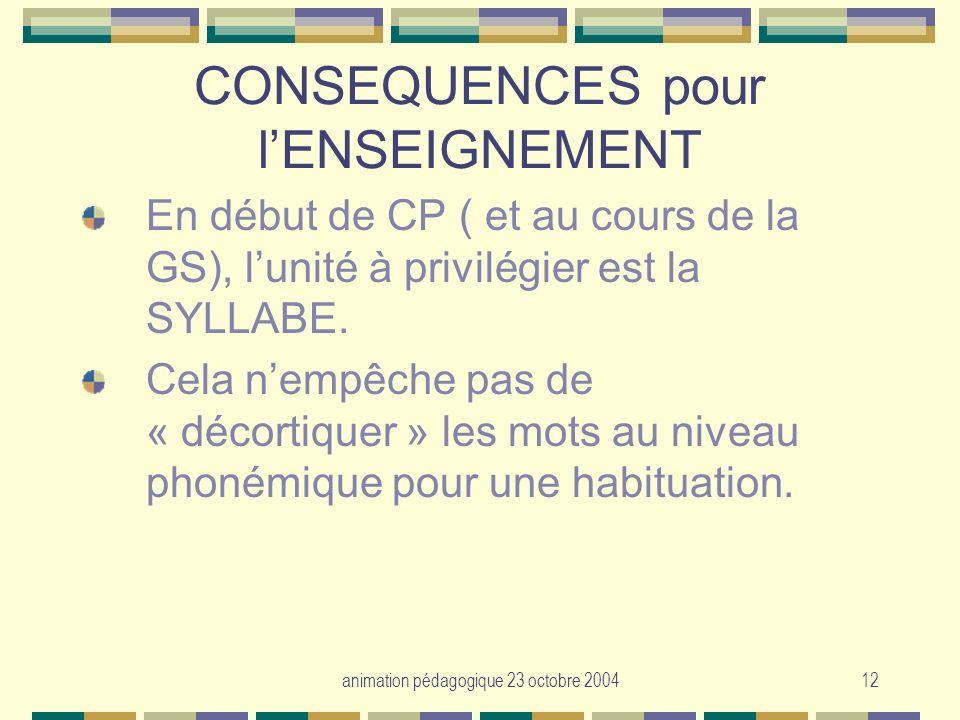 CONSEQUENCES pour l'ENSEIGNEMENT