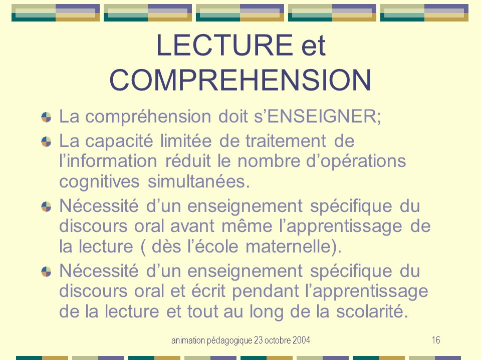LECTURE et COMPREHENSION