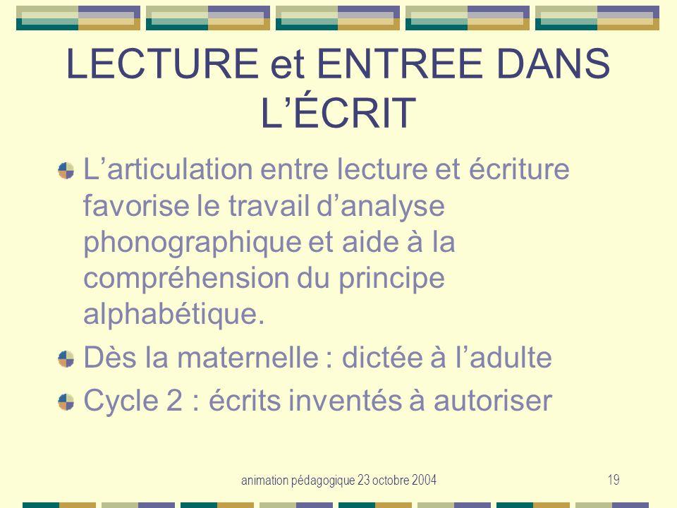 LECTURE et ENTREE DANS L'ÉCRIT