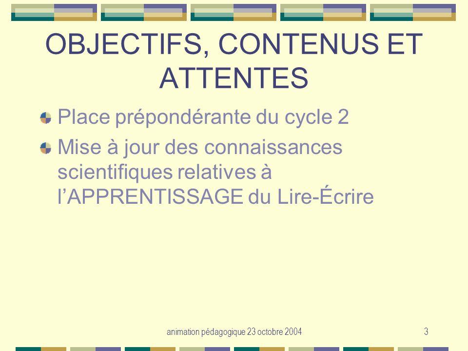 OBJECTIFS, CONTENUS ET ATTENTES