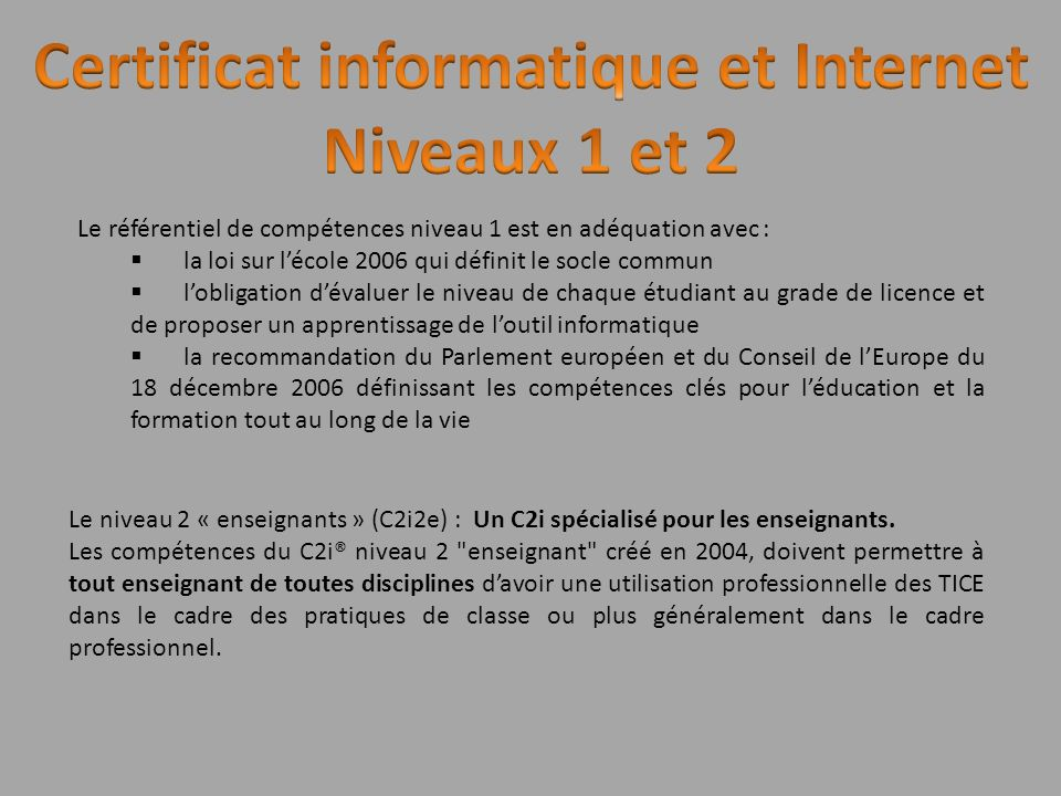 Certificat informatique et Internet