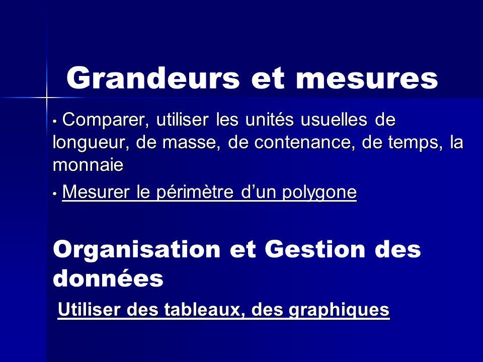 Grandeurs et mesures Organisation et Gestion des données