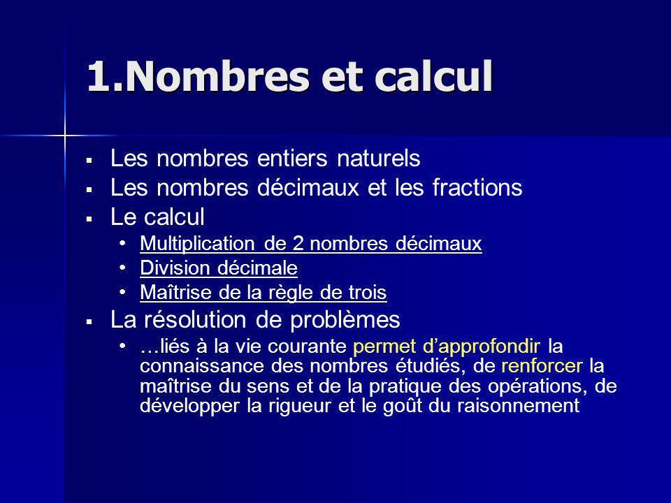 1.Nombres et calcul Les nombres entiers naturels