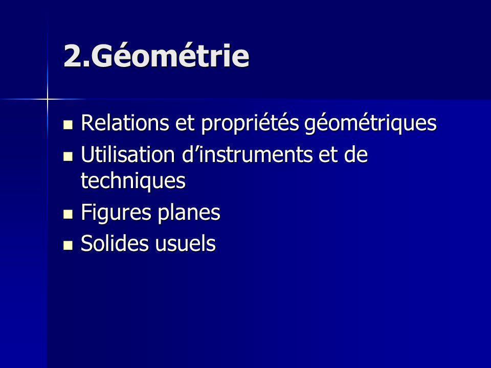 2.Géométrie Relations et propriétés géométriques