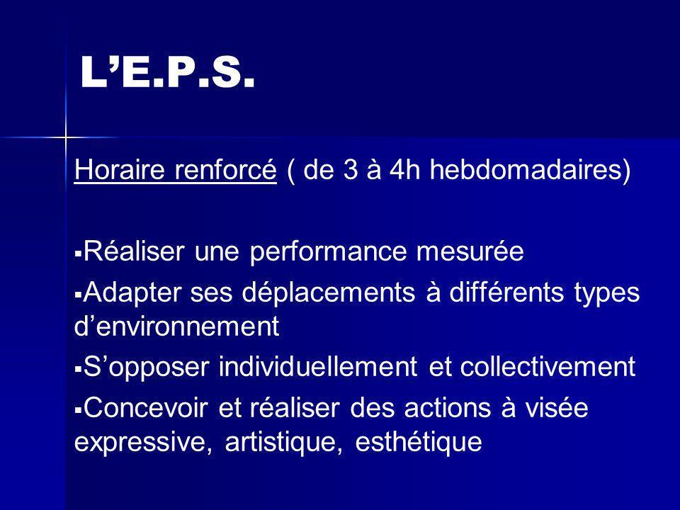 L'E.P.S. Horaire renforcé ( de 3 à 4h hebdomadaires)