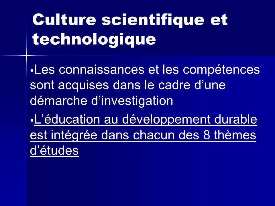 Culture scientifique et technologique